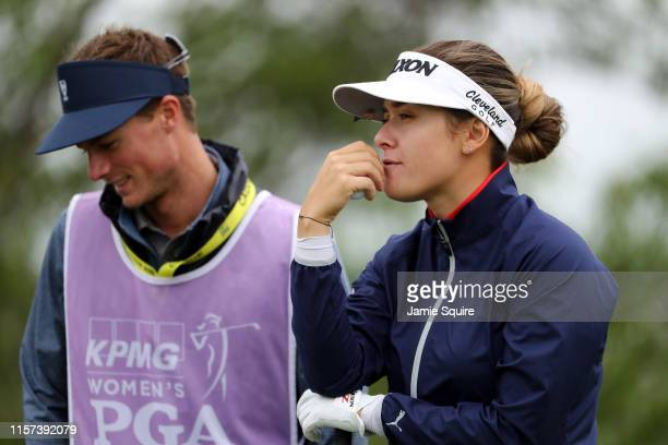 Hannah Green of Australia waits to tee off on the 1st hole hole during the second round of the KPMG Women's PGA Championship at Hazeltine National...