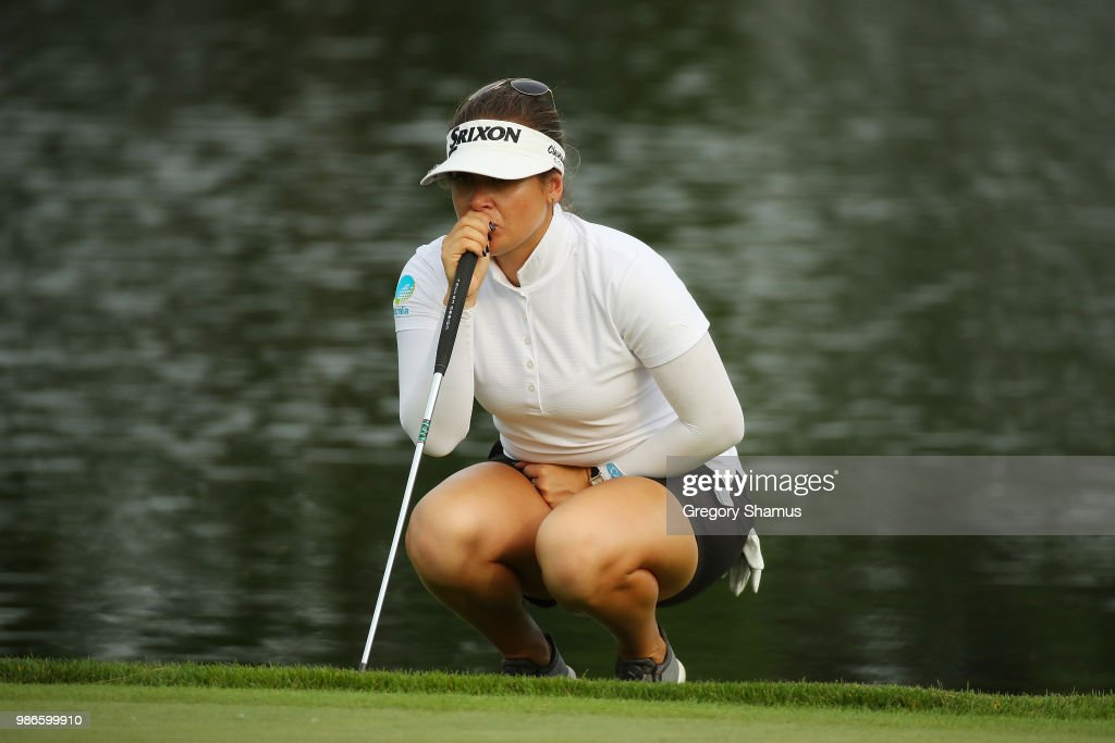 Hannah Green reads a putt on the 16th green during the first round of the 2018 KPMG PGA Championship at Kemper Lakes Golf Club on June 28, 2018 in Kiledeer, Illinois.