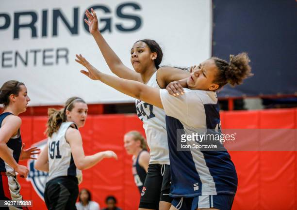 Hannah Gusters of DeSoto Texas posts up while participating in tryouts for the 2018 USA Basketball Women's U17 World Cup Team at the United States...