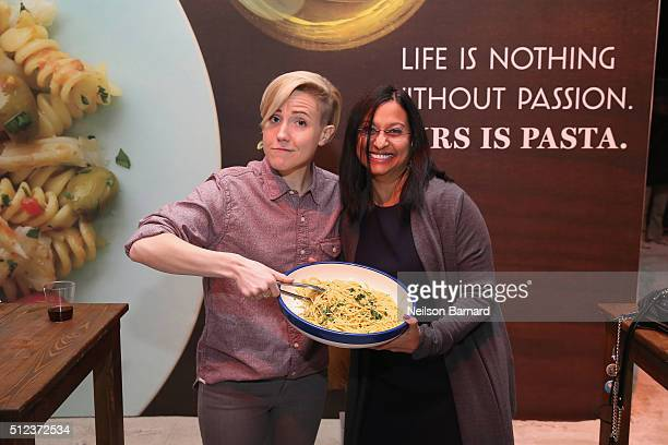 Hannah Hart and Head of Marketing and Communications for Barilla Prita Wadhwani attend MasterCard Preview Barilla's Italian Bites On Yhe Beach during...
