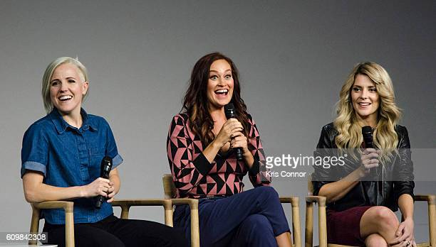 Hannah Hart Mamrie Hart and Grace Helbig aka 'YouTube's holy trinity' speak during a moderated discussion and QA about 'Dirty 30' at Apple SoHo on...