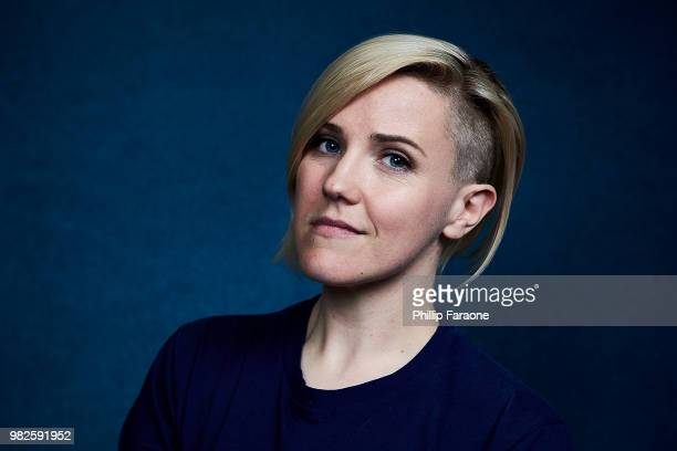 Hannah Hart poses for a portrait at the Getty Images Portrait Studio at the 9th Annual VidCon US at Anaheim Convention Center on June 22 2018 in...