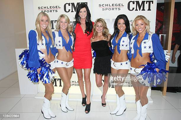 Hannah Helvey Anna Hunt and the Dallas Cowboy Cheerleaders attend the CMT Kirby Schlegel Toast to The Best of Texas at W Hotel on August 30 2011 in...
