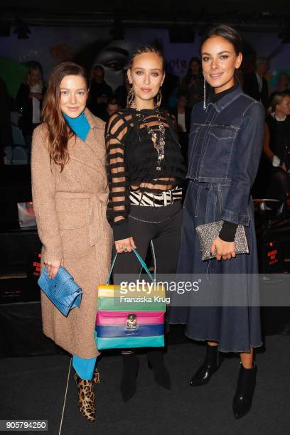 Hannah Herzsprung Caro Cult and Janina Uhse during the Marc Cain Fashion Show Berlin Autumn/Winter 2018 at metro station Potsdamer Platz on January...
