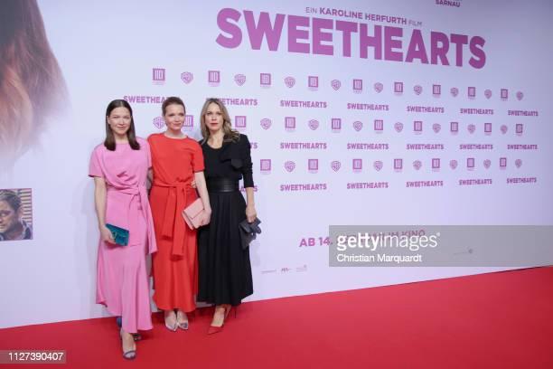 Hannah Herzsprung Karoline Herfurth and Anneke Kim Sarnau attend the premiere of the film 'Sweethearts' at Zoo Palast on February 04 2019 in Berlin...