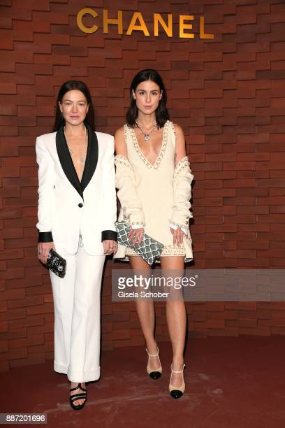 Hannah Herzsprung Lena MeyerLandrut during the Chanel 'Trombinoscope' Collection des Metiers d'Art 2017/18 photo call at Elbphilharmonie on December...