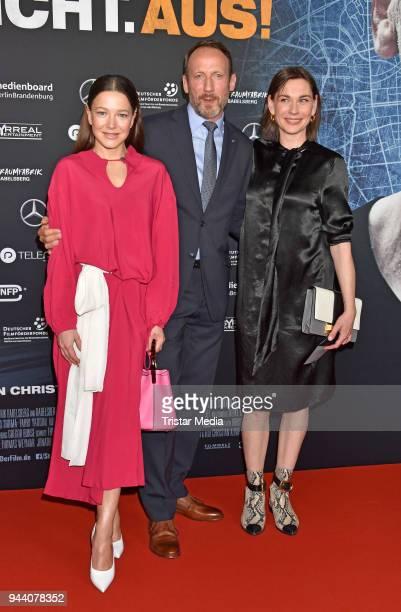 Hannah Herzsprung Wotan Wilke Moehring and Christiane Paul attend the 'Steig Nicht Aus' Premiere on April 9 2018 in Berlin Germany