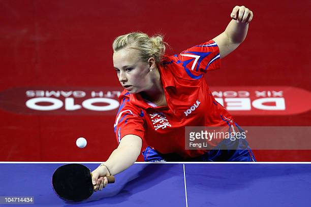 Hannah Hicks of England competes in the Women's Team preliminary at Yamuna Sports Complex during day one of the Delhi 2010 Commonwealth Games on...