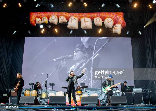 Hannah Hooper and Christian Zucconi of Grouplove perform during day 3 of Shaky Knees Music Festival at Atlanta Central Park on May 05, 2019 in...