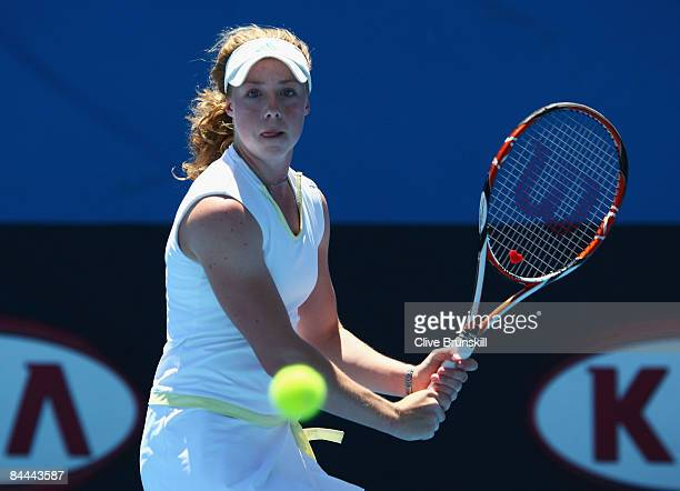 Hannah James of Great Britain plays a backhand in her junior girls match against Alexandra Krunic of Serbia during day seven of the 2009 Australian...