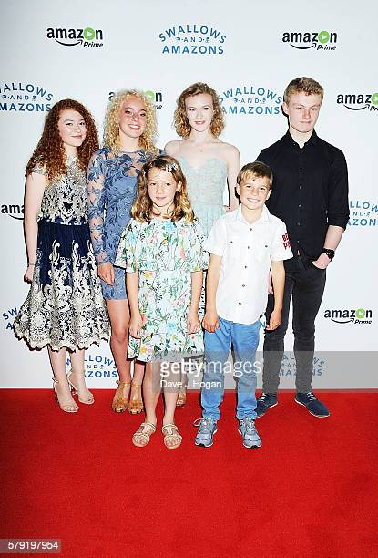 Hannah Jayne Thorp Seren Hawkes Teddie MallesonAllen Orla Hill Bobby Mcculloch and Dane Hughes attend the gala screening for 'Swallows and Amazons'...