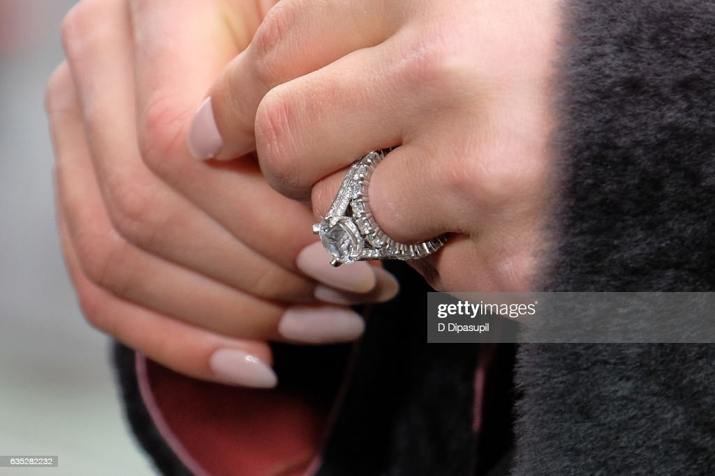 Hannah Jeter, ring detail, visits 'Extra' at their New York studios at the Hard Rock Cafe in Times Square on February 14, 2017 in New York City.
