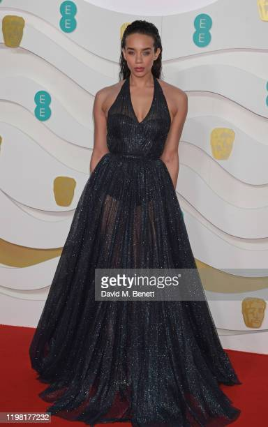 Hannah John-Kamen arrives at the EE British Academy Film Awards 2020 at Royal Albert Hall on February 2, 2020 in London, England.