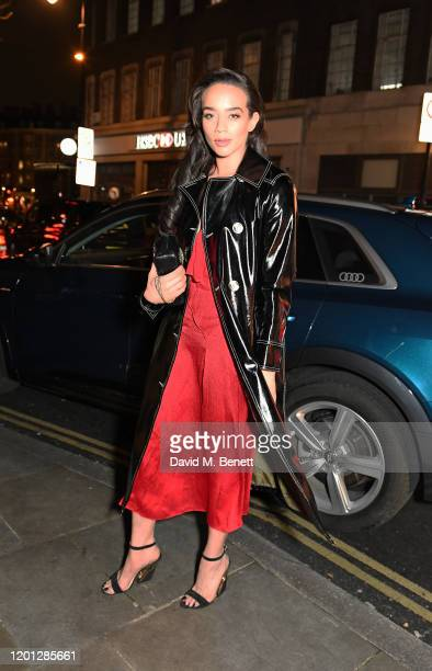Hannah John-Kamen arrives in an Audi at the Vanity Fair EE BAFTA Rising Star Party at The Standard on January 22, 2020 in London, England.