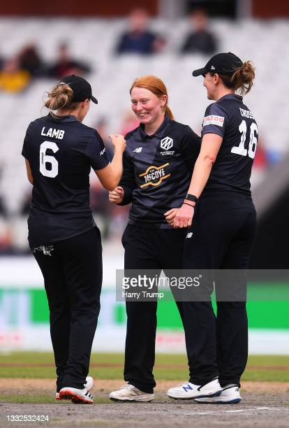 Hannah Jones of Manchester Originals Women celebrates after taking the wicket of Anya Shrubsole of Southern Brave Women with team mates Emma Lamb and...