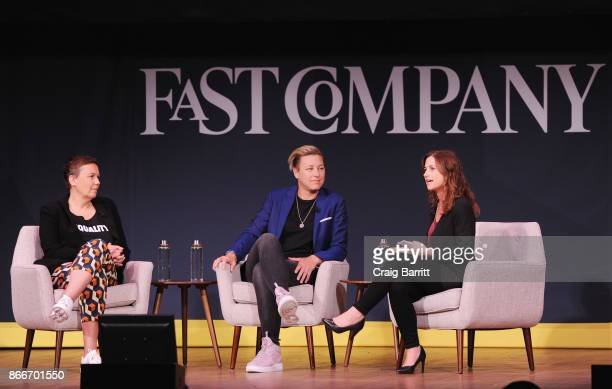 Hannah Jones of Nike Soccer player and Activist Abby Wambach and Jill Bernstein of Fast Company speak onstage for Soccer Star and Activist Abby...