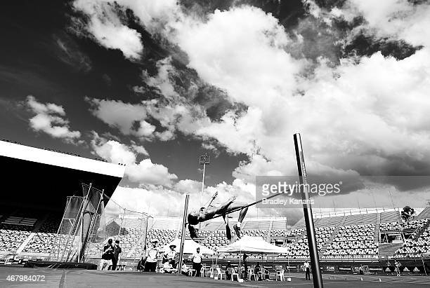 Hannah Joye competes in the final of the Women's High Jump Open event during the Australian Athletics Championships at the Queensland Sports and...