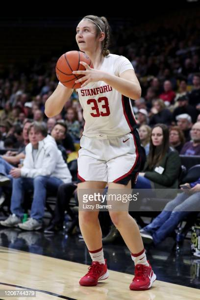 Hannah Jump of the Stanford Cardinal prepares to shoot a three point basket during the second quarter of a game between the Stanford Cardinal and the...
