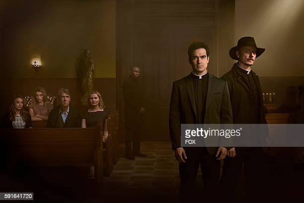 Hannah Kasulka Brianne Howey Alan Ruck Geena Davis Alfonso Herrera and Ben Daniels in THE EXORCIST premiering Friday Sept 23 on FOX
