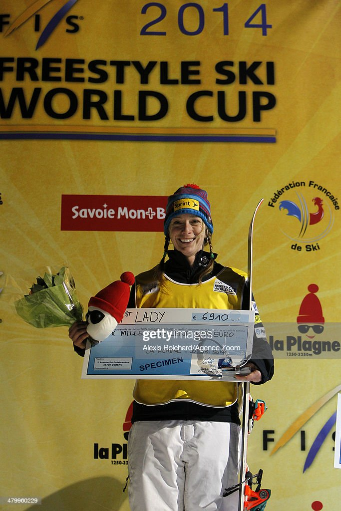 Hannah Kearney of the USA takes first place and wins the Overall Freestyle World Cup globe during the FIS Freestyle Ski World Cup Men's and Women's Dual Moguls on March 21, 2014 in La Plagne, France.