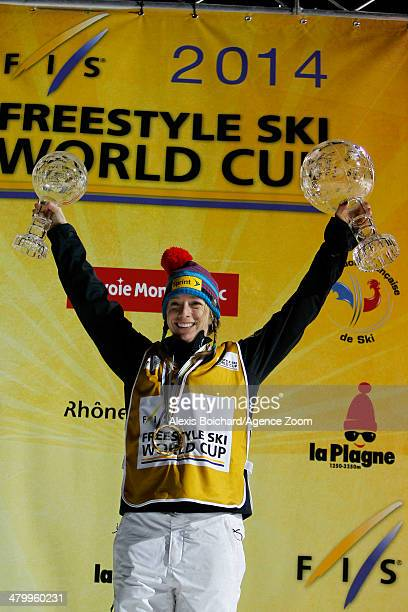 Hannah Kearney of the USA takes first place and wins the Overall Freestyle World Cup globe during the FIS Freestyle Ski World Cup Men's and Women's...