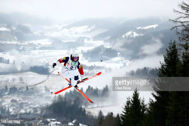Hannah Kearney of USA in action during Ladies Moguls training at the FIS Freestyle Ski World Championships on January 17 2015 in Kreischberg Austria
