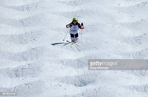 Hannah Kearney skis to first place to win the ladies' moguls at the 2015 US Freestyle Ski Championships at the Steamboat Ski Resort on March 27 2015...
