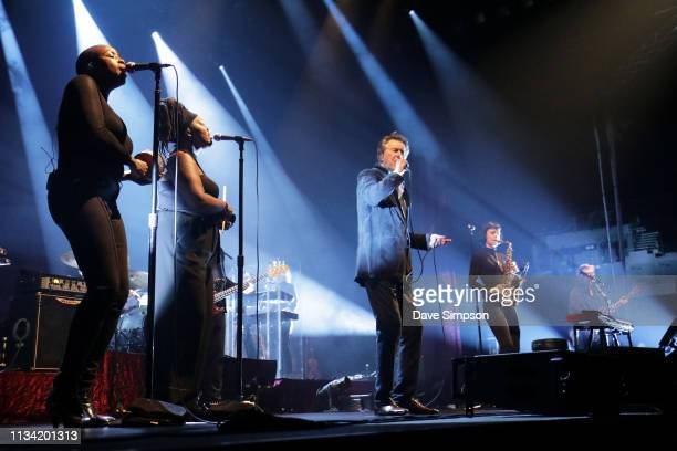 Hannah Khemoh Aleysha Lei Bryan Ferry Jorja Chalmers and Chris Spedding perform at Spark Arena on March 07 2019 in Auckland New Zealand