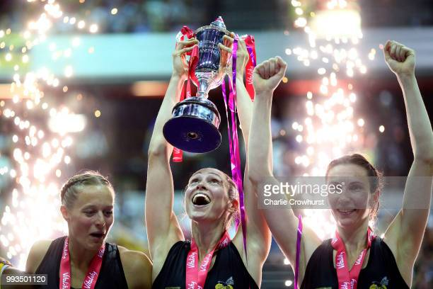 Hannah Knights of Wasps lifts the trophy during the Vitality Netball Superleague Grand Final between Loughborough Lightning and Wasps at Copper Box...