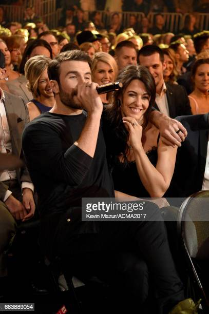 Hannah Lee Fowler reacts as recording artist Sam Hunt performs during the 52nd Academy of Country Music Awards at TMobile Arena on April 2 2017 in...