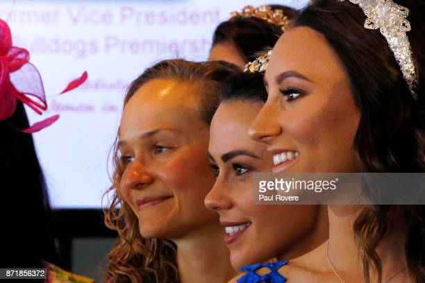 Hannah Macdougall Kelly Cartwright and Katelyn Mallyon pose for a photo at the Celebrating Women In Sport event on 2017 Oaks Day at Flemington...