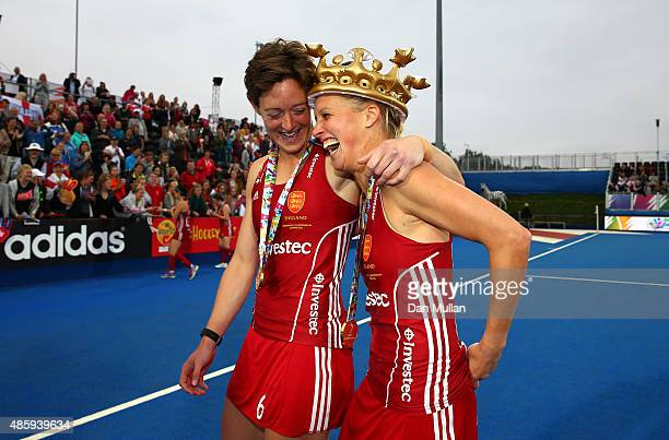 Hannah Macleod and Alex Danson of England celebrate following victory during the EuroHockey Womens Gold Medal match between England and The...