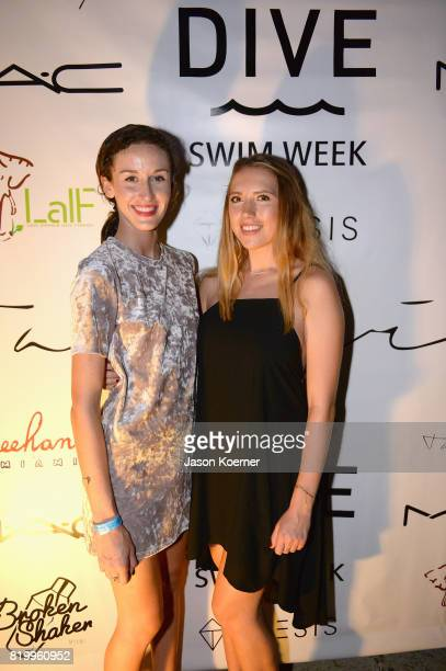 Hannah Marjon and Ronnie Finley attends DIVE Swim Week Opening Party at Freehand Miami on July 20 2017 in Miami Florida