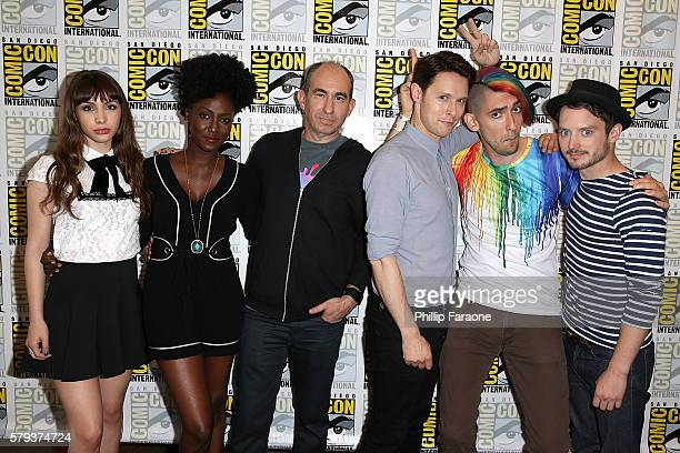 Hannah Marks Jade Eshete Robert Cooper Samuel Barnett Max Landis and Elijah Wood attend the 'Dirk Gently's' press line during ComicCon International...