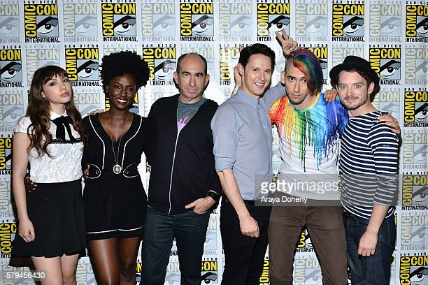 Hannah Marks, Jade Eshete, Robert Cooper, Samuel Barnett, Max Landis and Elijah Wood attend the Dirk Gently press line at Comic-Con International...