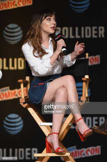 Hannah Marks speaks onstage during the Dirk Gently's Holistic Detective Agency BBC AMERICA Official Panel during 2017 New York Comic Con on October 6...
