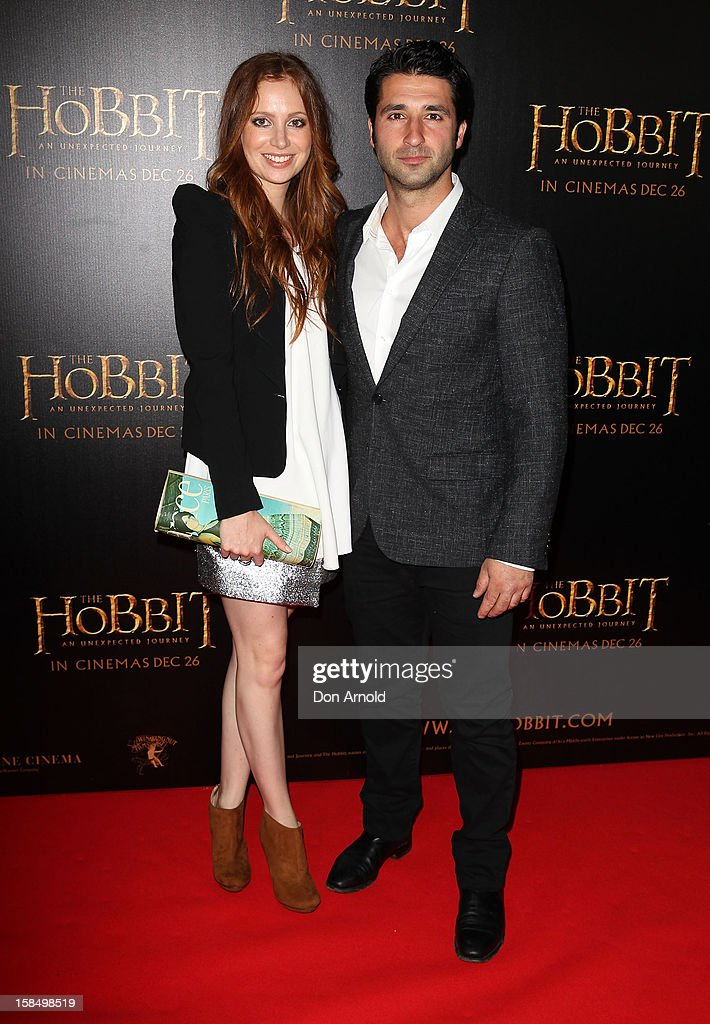 Hannah Marshall and George Houvardas attend the Sydney premiere of 'The Hobbit: An Unexpected Journey' at George Street V-Max Cinemas on December 18, 2012 in Sydney, Australia.