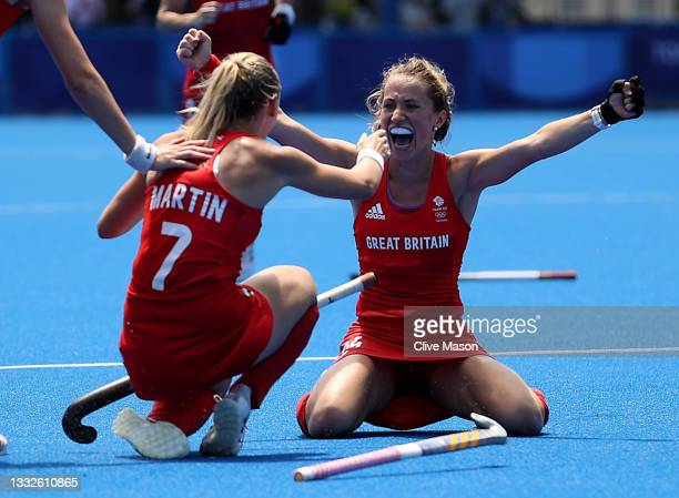 Hannah Martin and Shona McCallin of Team Great Britain celebrate winning the Women's Bronze medal match between Great Britain and India on day...