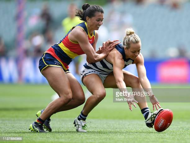 Hannah Martin of the Adelaide Crows competes with Renee Garing of the Cats during the AFLW Preliminary Final match between the Adelaide Crows and...