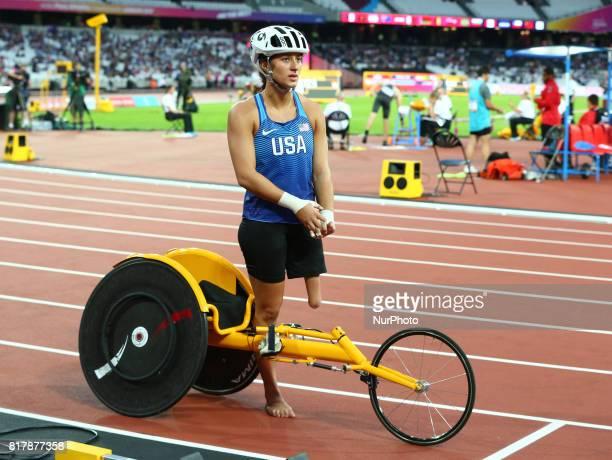 Hannah McFadden of USA Women's 400m T54 Final during IPC World Para Athletics Championships at London Stadium in London on July 17 2017