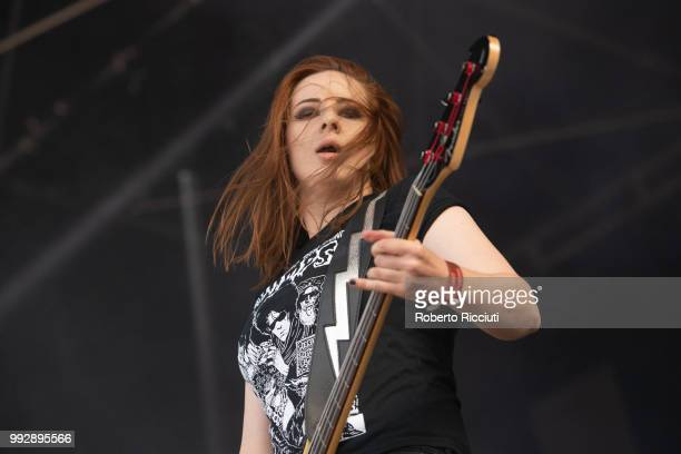 Hannah McKay of The Amorettes performs on stage during TRNSMT Festival Day 4 at Glasgow Green on July 6 2018 in Glasgow Scotland