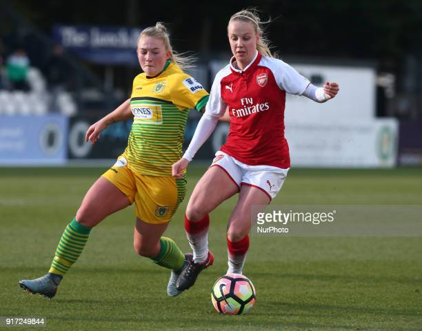 LR Hannah Miles of Yeovil Town Ladies and Beth Mead of Arsenal during Women's Super League 1match between Arsenal against Yeovil Town Ladies at...