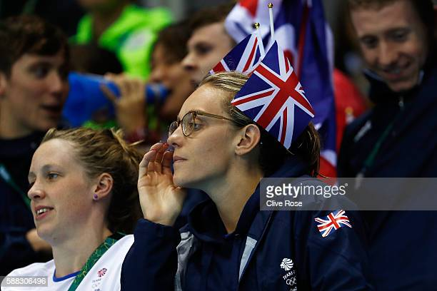 Hannah Miley and Francesca Halsall of Great Britain watch the Men's 200m Breaststroke Final on Day 5 of the Rio 2016 Olympic Games at the Olympic...