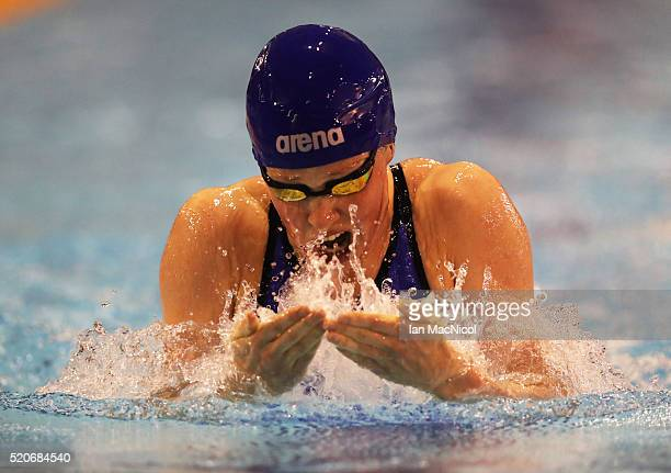 Hannah Miley competes in the Final of The Women's 400IM during Day One of The British Swimming Championships at Tollcross International Swimming...