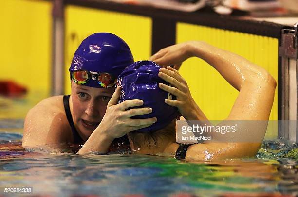 Hannah Miley interacts with Amiee Willmott after they compete in the Final of The Women's 400IM during Day One of The British Swimming Championships...