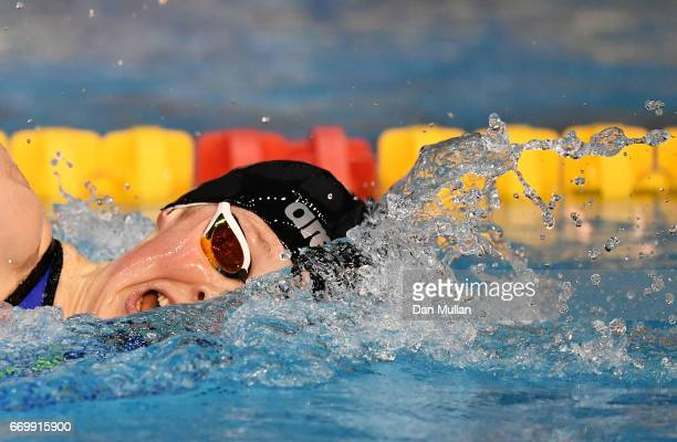 Hannah Miley of Aberdeen Per competes in the Womens Open 400m IM final on day one of the British Swimming Championships at Ponds Forge on April 18...