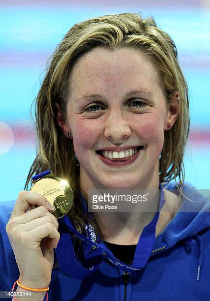 Hannah Miley of Garioch celebrates with the gold medal after winning the Women's Open 400m Individual Medley Final during day one of the British Gas...