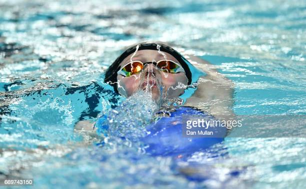 Hannah Miley of Great Britain competes in the Womens Open 400m Individual Medley on day one of the 2017 British Swimming Championships at Ponds Forge...