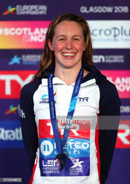 Hannah Miley of Great Britain poses with her Bronze Medal after finishing third in the Women's 400m Individual Medley Final during the swimming on...