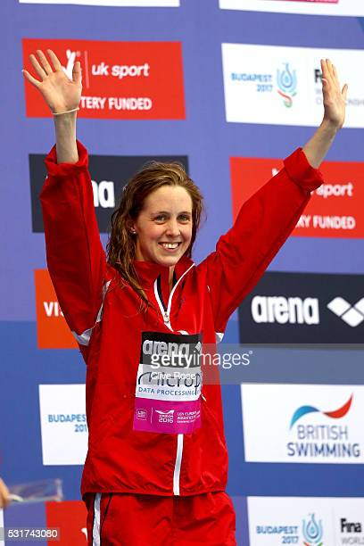 Hannah Miley of Great Britain poses with her silver medal after coming second in the Women's 400 Individual medley Final on day eight of the 33rd LEN...